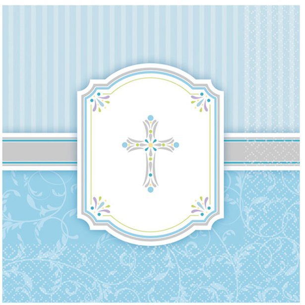 First Holy Communion Blessings Blue Paper Luncheon Napkins 2ply 16pk