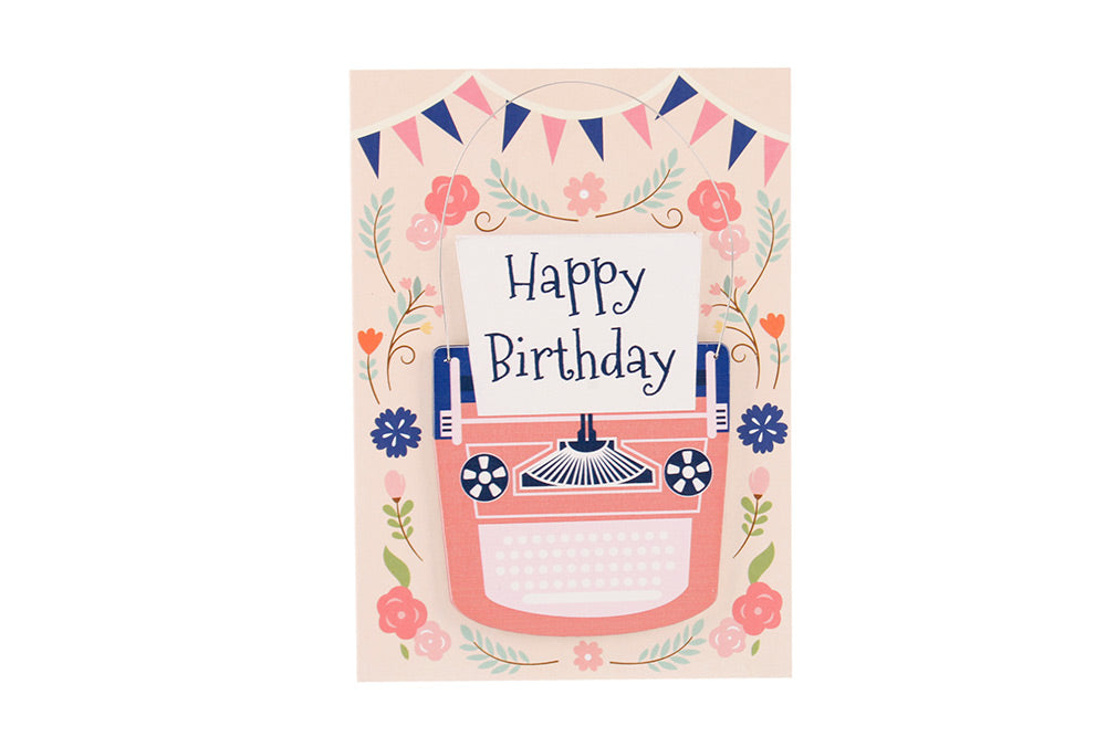 Happy Birthday Pink and Blue Typewriter - Card & Hanger