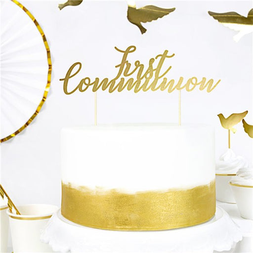 First Holy Communion Gold Cake Topper