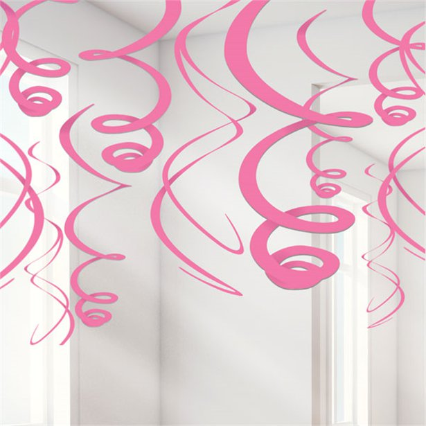 Hanging Decorations - Pink Swirls - 12pk