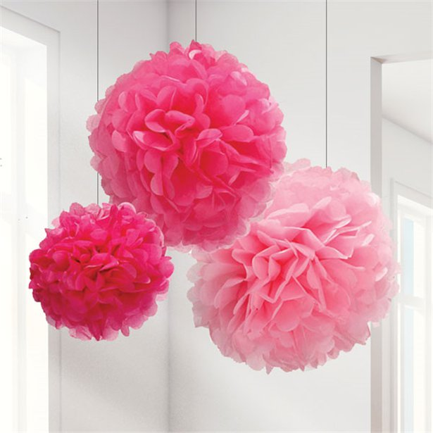 Pom Pom Decorations - Pink Shades 3pk