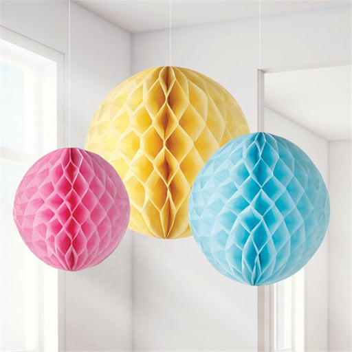 Decorations Pastel Honeycombs - 3pk