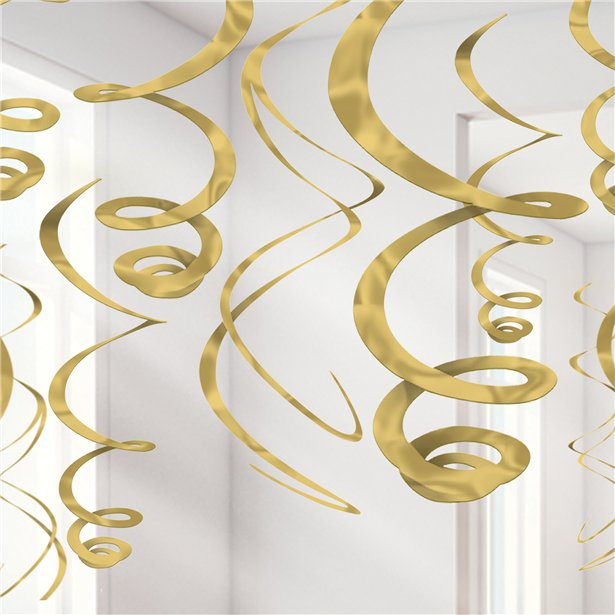 Hanging Decorations - Gold Swirls - 12pk