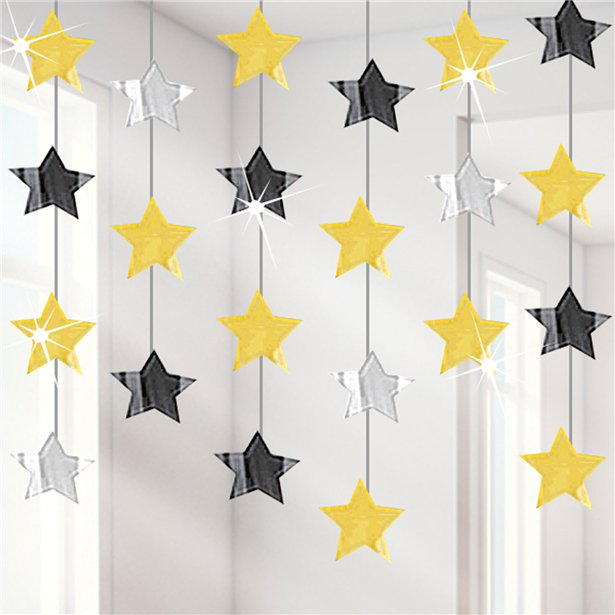 Hanging Strings Decoration - Gold, Silver & Black Stars