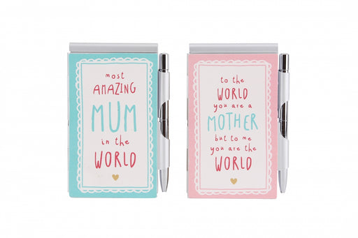 World's Best Mum - 2 Assorted Notebook & Pen