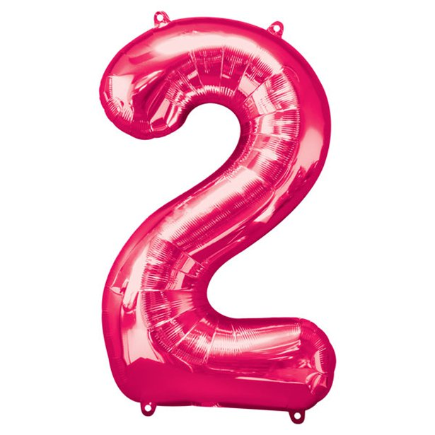 Balloon Foil Number - 2 Pink  - 34""