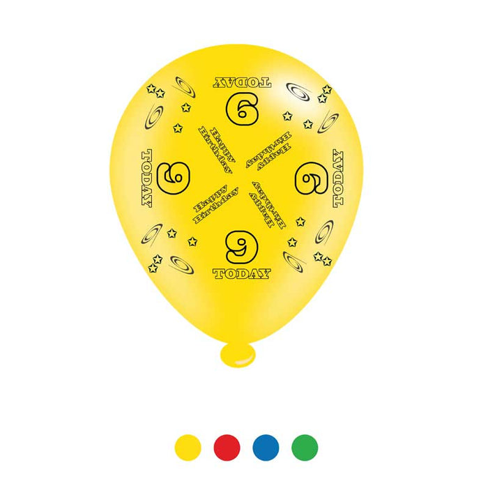 Balloons Latex - Birthday Age 9 - Mixed Colours - 8pk