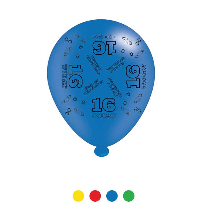 Balloons Latex - Birthday Age 16 - Mixed Colours - 8pk