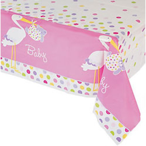 Baby Girl Stork - Plastic Party Tablecover