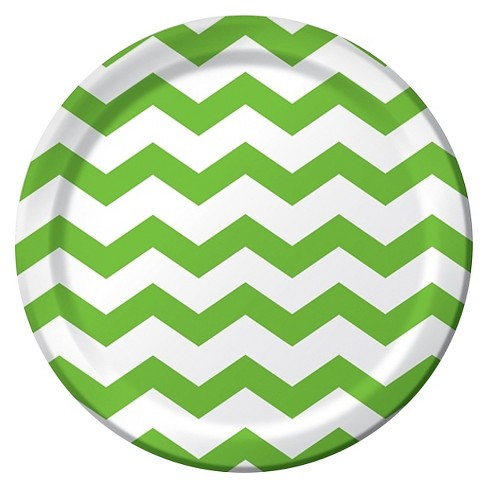 Lime Green Chevron Plates - 23cm Paper Party Plate