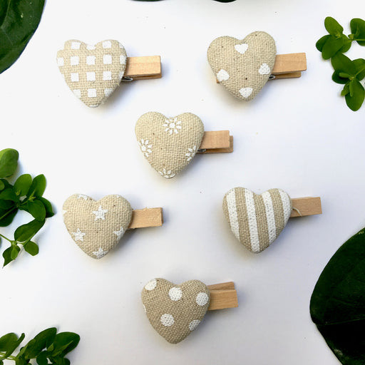 Set Wood Clip W/Heart In Cotton