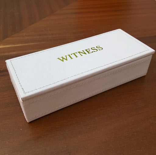 Witness -  Faux Leather Jewelry Box White with Gold Print