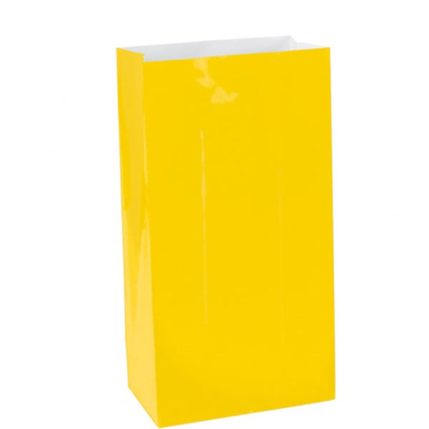 Plain Paper Bags Sunshine Yellow 12pk