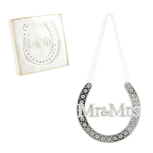 Lucky Charm - Horse Shoe Mr & Mrs - Silver Plated