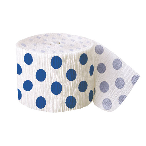 Blue Polka Dot Crepe Streamer - 30Ft