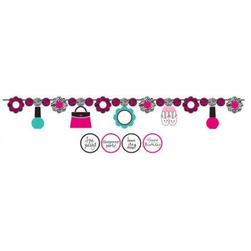 Spa Party Circle Paper Banner with Stickers