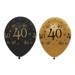 Latex Balloons Black & Gold 40