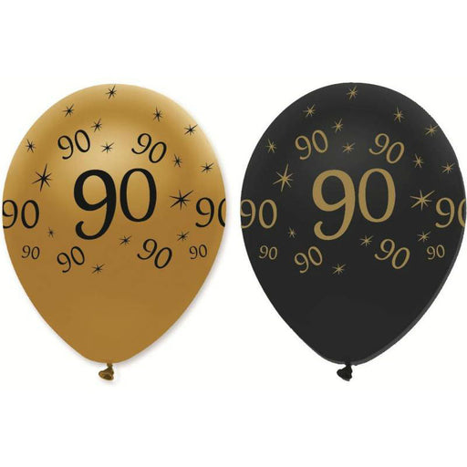 Latex Balloons Black & Gold 90