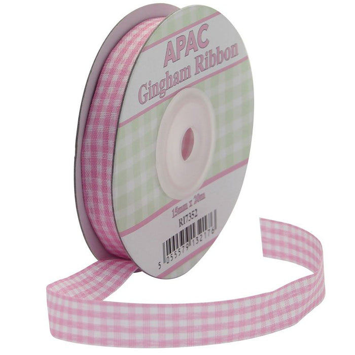 Gingham Ribbon - 15mm - Baby Pink