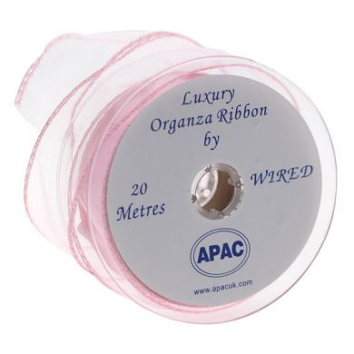 Organza Ribbon with Wired Edge - Baby Pink - 30mm