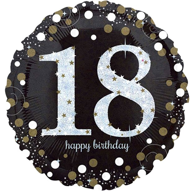Balloon Foil Round Shape - Gold Sparkling Celebration - Happy 18th Birthday