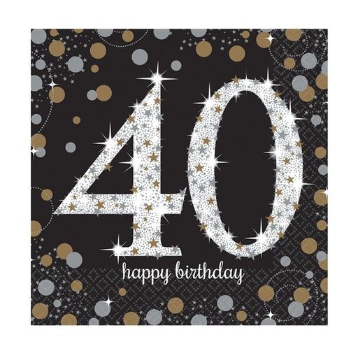 Lunch Napkins - Sparkling Celebration Age 40 - 16pk