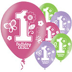 Sweet Girl 1st Bithday Balloons - 11'' Latex