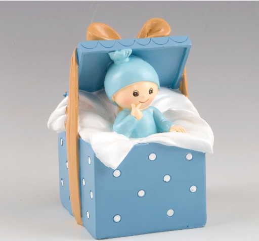 Cake Topper-Moneybox Baby Blue Box 10x15x9cm