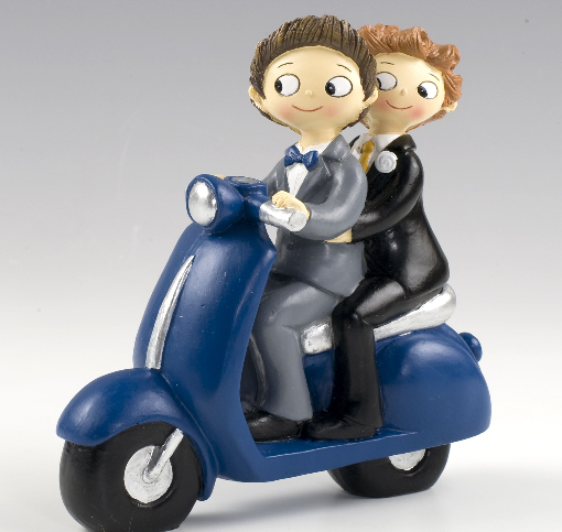 Motorbike Wedding Couple Figurine