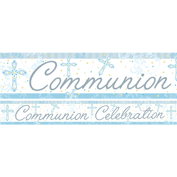 Communion Celebration Paper Banner - Blue 1m