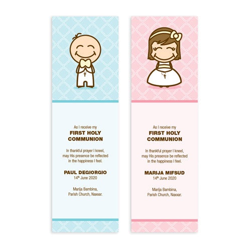 Bookmarks Personalized - Holy Communion - Cartoon Design - BMK01-15