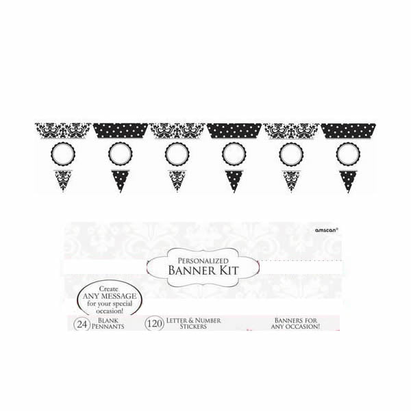 Banners Personalise It Pennant Banner - Black