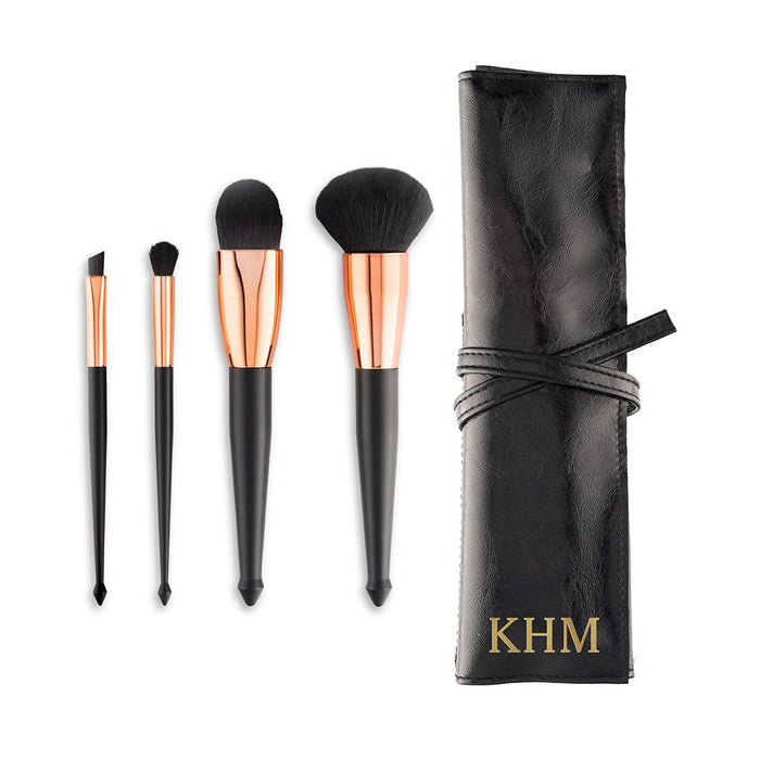 Personalised Makeup Brush Set & Travel Pouch - Black & Rose Gold
