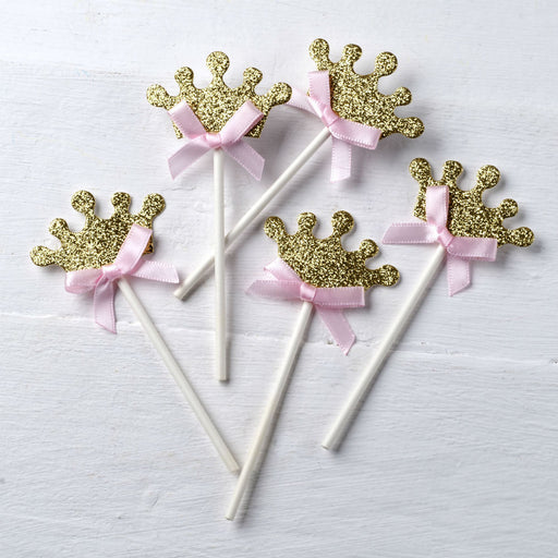 Gold Crown Pink Bow Cupcake Toppers - 5pk