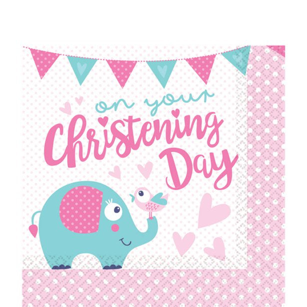 Luncheon Napkins - Christening Day Pink - 16pk