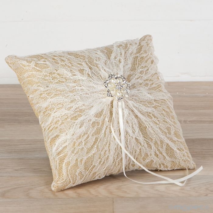 Burlap with Pearl's Brooch - Ring Pillow
