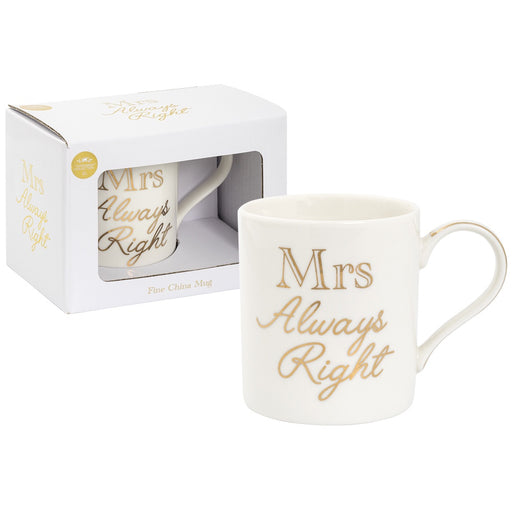 Mug - Mrs Always Right - Gold & White