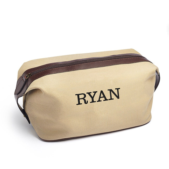 Personalised Men's Travel Toiletry Bag - Light Brown Canvas