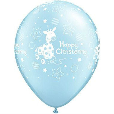 Boys Christening Blue Soft Giraffe Balloon