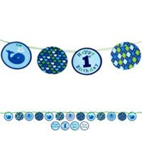 Ribbon Circle Banner W/Stickers Ocean Preppy Boy