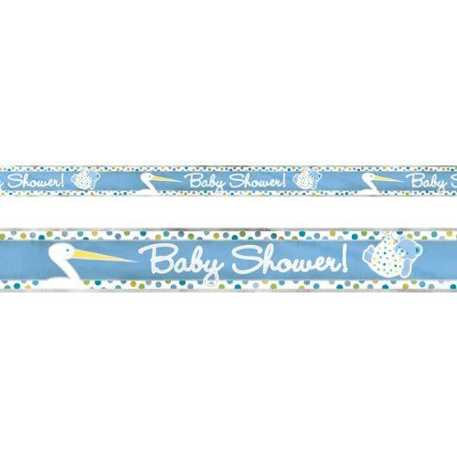 Baby Boy Stork Blue Foil Party Banner - 3.7m