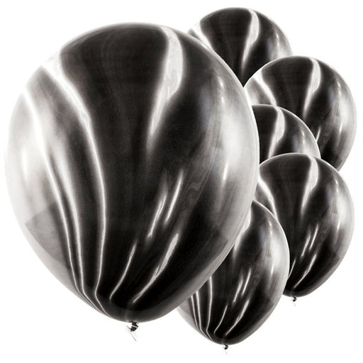 Balloons Latex - Marble Effect - Black 6pk