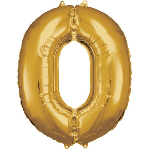 Balloon Foil Number - 0 - Gold - 34""