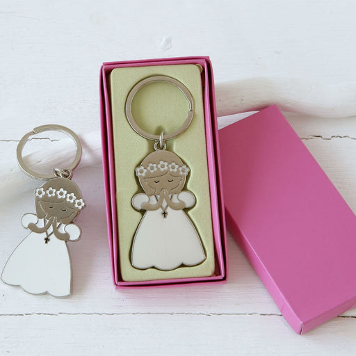 Key Ring - Girl with Flowers With Box Included