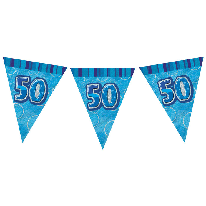 50th Birthday Blue Flag Banner - Plastic - 3.65m