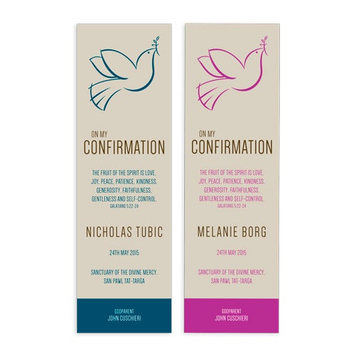 Bookmarks Personalized - Confirmation - Dove Outline - BMKCON05-15