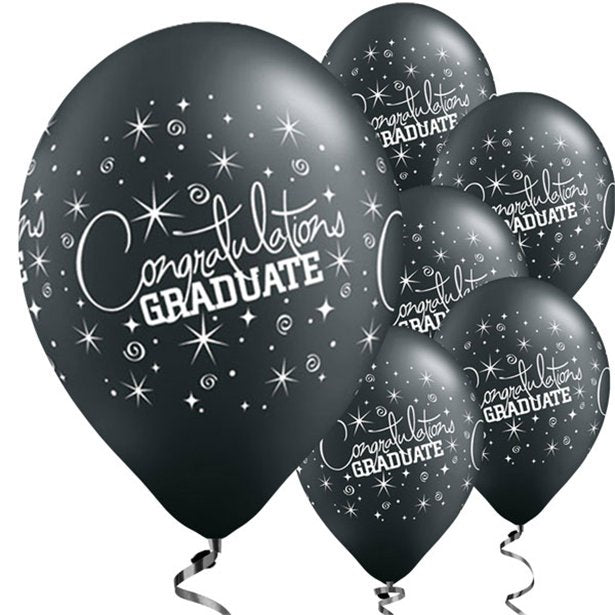 Balloons Latex - Black Congratulations Graduate - 6pk