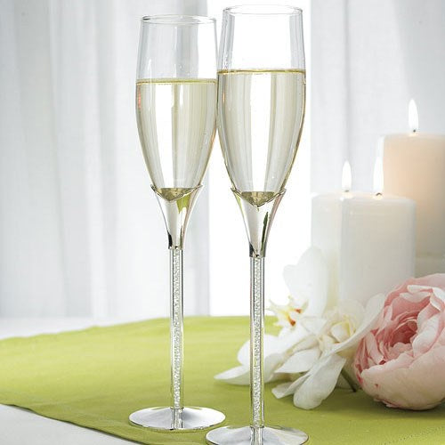 Champagne Glass Set -  Crystal Stones