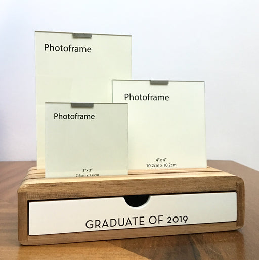 'Graduate of 2019' Glass Picture Frame And Wooden Desk Organizer - Modern Centred Print