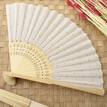 Fabric Fan with Gold dots